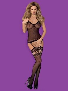 Bodystocking F214 czarne - bodystocking typu body + pończochy
