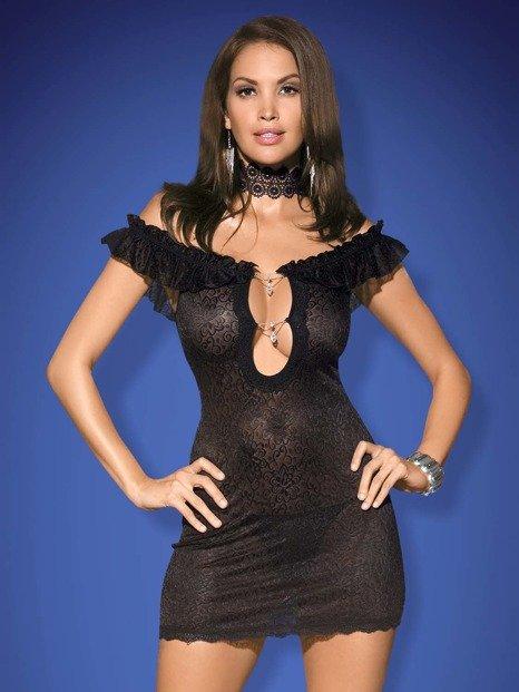Diamond koszulka i stringi czarna - z ponętnym dekoltem - OB1424